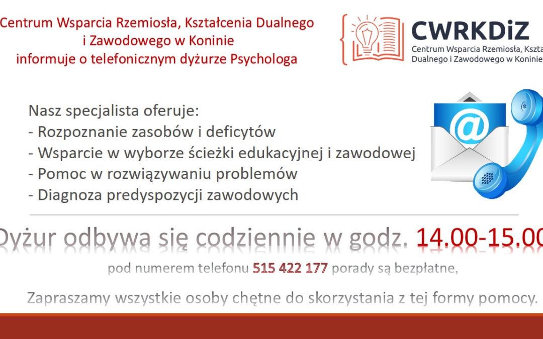 Informacja o telefonicznym dyżurze Psychologa