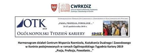 """Harmonogram działań w ramach Ogólnopolskiego Tygodnia Kariery 2019  """"Pasja, Profesja, Powołanie…"""""""