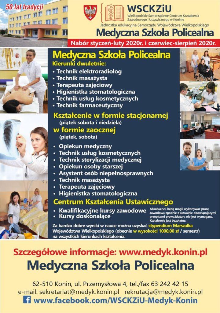 Oferta naboru do szkół Medycznej Szkoły Policealnej 2020
